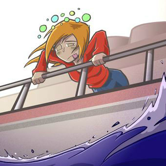 zeeziek hangend over de reling