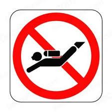 niet duiken bord